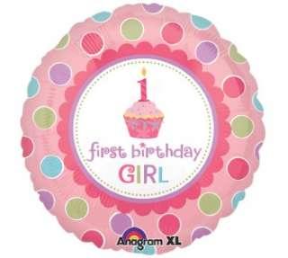 CUPCAKE BIRTHDAY BALLOON Pink Globo and Chocolate Brown Polka Dots 27