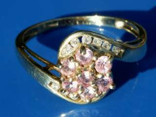 REAL DIAMOND & PINK SAPPHIRE 9ct GOLD DAISY RING 3.2GRM