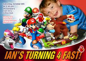 Personalized Photo Super Mario Kart Sonic Birthday Invitations