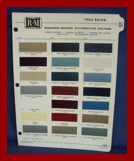 1966 BUICK Automobile Exterior Paint Colors Brochure