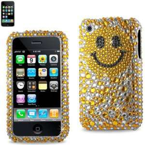 IPhone 3G 3GS Gold Smiley Face Bling Diamond Hard Case