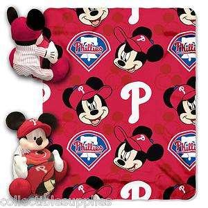 Disney Philadelphia Phillies Mickey Mouse Shaped Pillow Fleece Throw