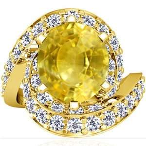 18K Yellow Gold Oval Cut Yellow Sapphire Fana Designer Ring Jewelry
