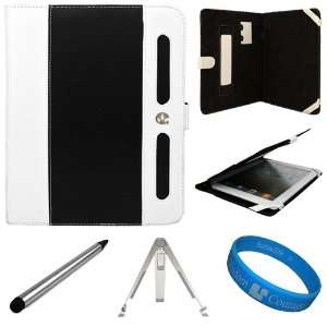 White Executive Leather Portfolio Carrying Case Cover for Apple iPad