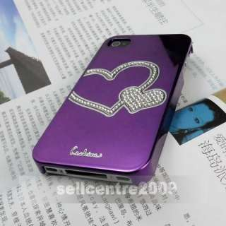 Love Purple Mirror Bling Hard Diamonds Rhinestone Case Cover For