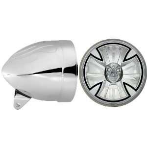 Headlight Bucket Combo with Iron Cross Skull Headlamp (Part No T50X00