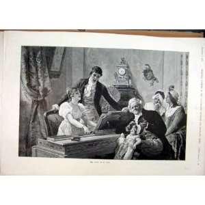 1893 Duet Piano Music Family Scene Antique Fine Art