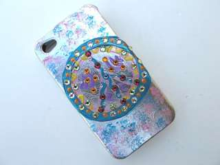iPhone 4S 4 Colorful Peace Love Happiness Case Cover W Swarovski