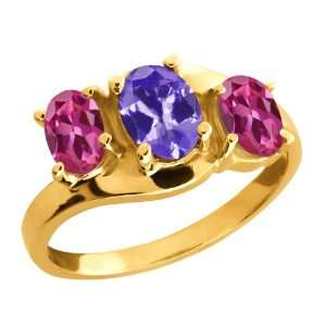 Oval Blue Tanzanite and Pink Tourmaline 10k Yellow Gold Ring Jewelry