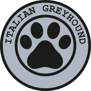 1x ITALIAN GREYHOUND PAW PRINT SEAL TRACK FUNNY STICKER DOG PET DECAL