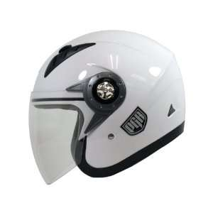 PGR Jet Pilot Open Face Motorcycle DOT APPROVED Helmet JE02 (S, White)