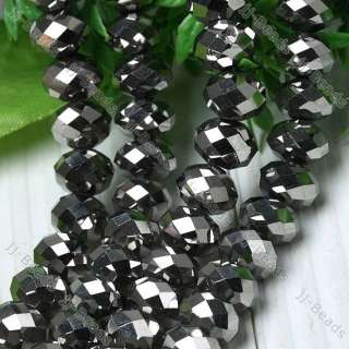 10mm Silver Faceted Crystal Glass Loose Beads Strand