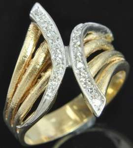 Estate Vintage Two Tone 18K Gold Diamond Cocktail Wide Band Ring 11.5
