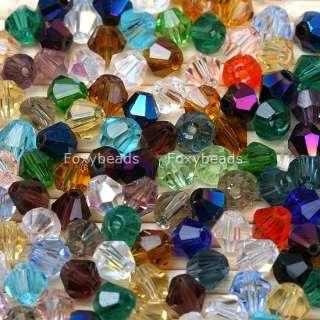 500pcs Mixed 4mm Glass Bicone Loose Crystal Beads BULK