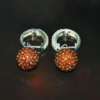 12mm Swarovski Crystal Disco Ball Rhinestone Dangle Earring 925