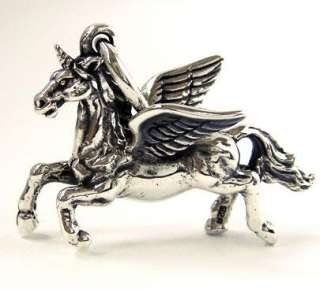 UNICORN FLYING HORSE SOLID STERLING 925 SILVER PENDANT