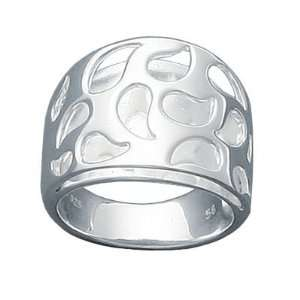 Ladies Sterling Silver Open Flame Fire Band Ring Jewelry