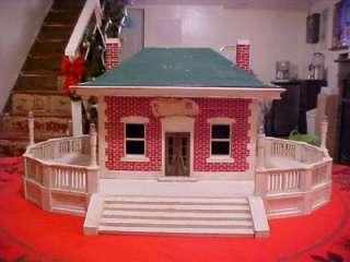 Antique Folk Art Miniature Tin Metal Toy Railroad Station Building