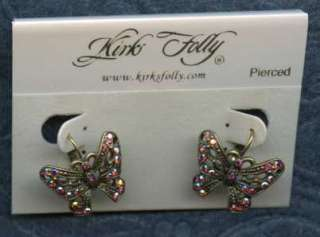 KIRKS Folly MONARCH Majesty BUTTERFLY Leverback EARRINGS ~