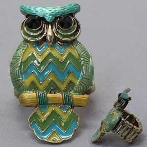 Owl Ring, Stretchable, with Stones, 3/4 W, 1 1/2 L , Gold, Green