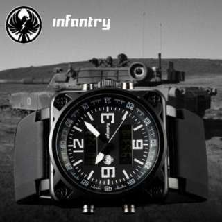 INFANTRY Black Army Force Spy Mens LCD Sports Watch