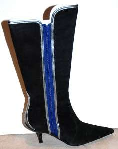 New FORNARINA tall Suede leather Boots Black