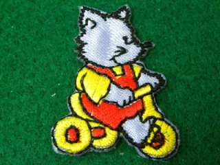CUTE FOX BIKE BICYCLE IRON ON PATCH EMBROIDERED I319
