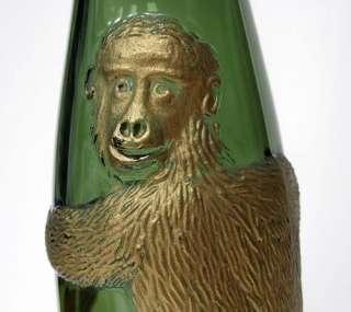Vintage Green Glass Empty Wine Bottle Hand Painted Gold Monkey