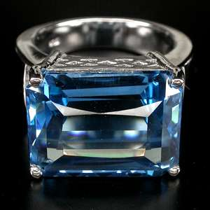 FLAWLESS TOP LONDON BLUE TOPAZ,ZIRCON 925 SILVER RING SZ 6.0