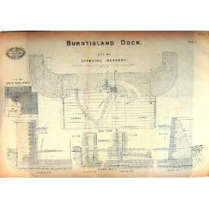 TRACING PAPER 1879 ENGINEERING BURNTISLAND DOCK MASONRY