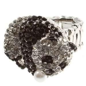 band ring with clusters of jet and crystal rhinestones in a panda bear