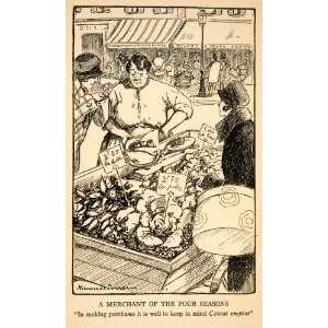 1927 Print Marcel Poncin Market Merchant Cloche Hat Barter