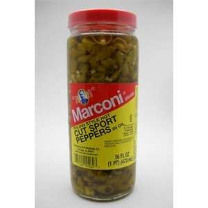 Marconi Brand Italian Style Hot Cut Sport Peppers In Oil 16 oz