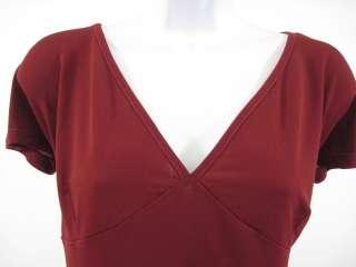 OLTRE Red Short Sleeve V Neck Shirt Top Sz L