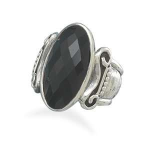 Oxidized Sterling Silver Ring With 19mm Oval Faceted Black Onyx   Size