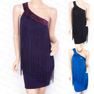 New Sexy One Shoulder Fringes Sequin Evening Party Dress S M L XL