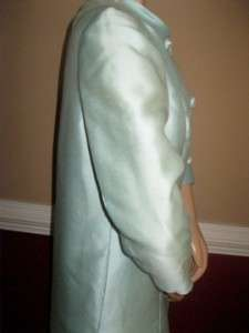 VTG 1960s LORD TAYLOR Seafoam Green Cocktail Dress Coat L 12 14 Formal