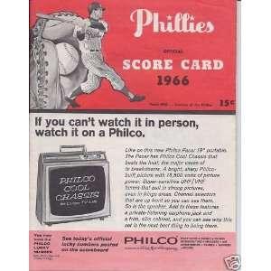 1966 Philadelphia Phillies vs. San Francisco Giants Official Scorecard