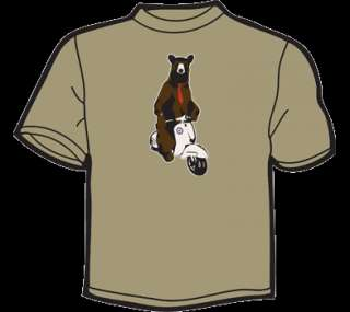 BEAR ON A VESPA T Shirt WOMENS funny vtg 80s 70s scooter mod cute