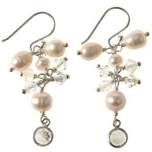 Freshwater Pearl Earrings With Swarovski Crystal Beads & Sterling