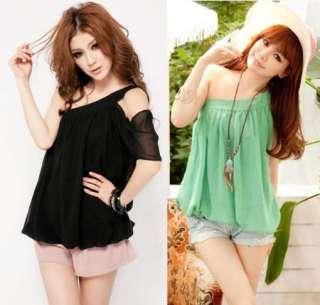 Korea Womens Romantic Single Oblique Chiffon Lined Lady Tops Shirts