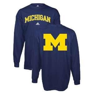 Adidas Michigan Wolverines Long Sleeve T Shirt Sports
