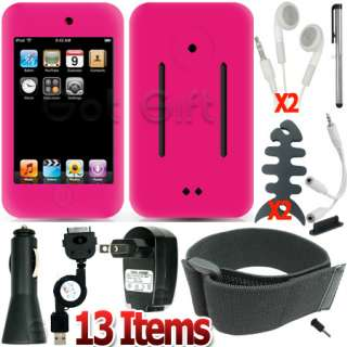 13 ACCESSORY CASE COVER SKIN+HOME CAR CHARGER+ARMBAND FOR IPOD TOUCH