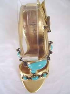 New BEBE Gia Gold Blue Embellished Leather sz 9