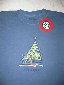 LIFE IS GOOD Christmas Sailboat Boat Jake LS T Tee Shirt NWT Boys L