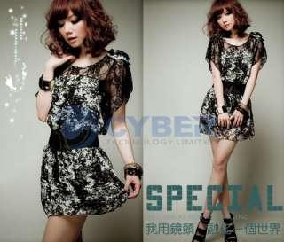 New Womens Korea Sexy Lace Chiffon Mini Dress With Belt