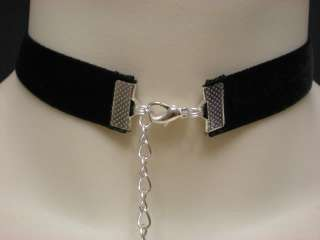 BLACK VELVET 16mm CHOKER NECKLACE PURPLE CRYSTAL DROP