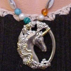 Sterling Silver Gorham Unicorn Charka Necklace Wicca Metaphsical Pagan