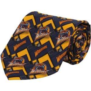 NBA Golden State Warriors Royal Blue Gold Block Pattern Silk Tie