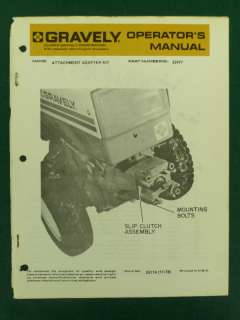 GRAVELY ATTACHMENT ADAPTER KIT OPERATORS MANUAL